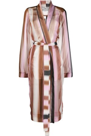 Rick Owens Gradient silk belted coat