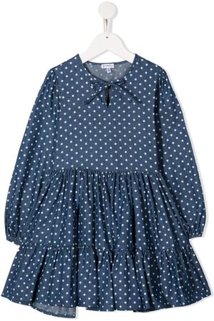 Piccola Ludo Polka dot-print ruffled dress