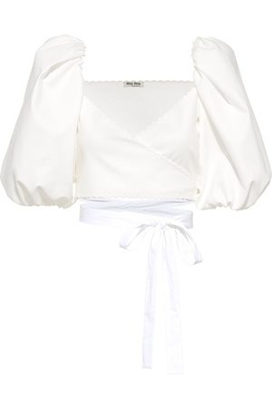 Miu Miu Women Wrap tops - Cropped wrap blouse