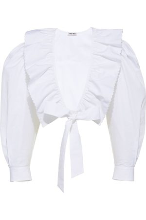 Miu Miu Women Blouses - Cropped ruffle-trim blouse