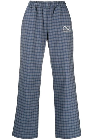 PACCBET Men Straight Leg Pants - Checked straight-leg trousers
