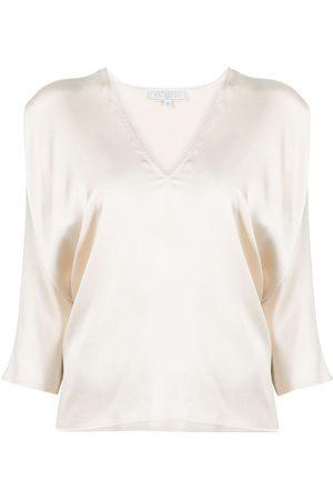 ANTONELLI V-neck crop-sleeve blouse - Neutrals