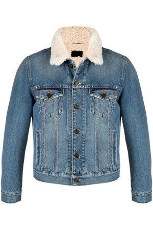 Saint Laurent Men Denim Jackets - Shearling lined denim jacket