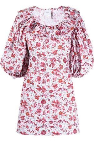 Patou Ruffle-collar floral dress