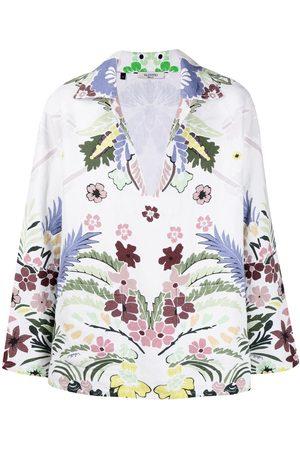 VALENTINO Men Shirts - Arazzo-print split-neck shirt
