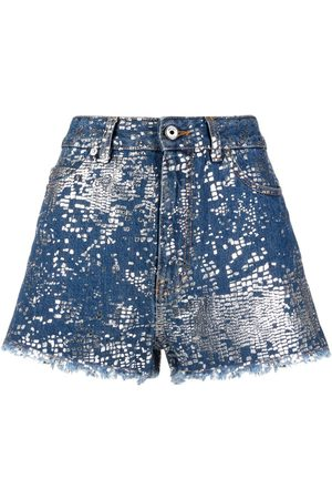 Roberto Cavalli Foil-effect print denim shorts