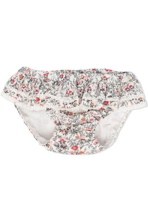 Tartine Et Chocolat Girls Bikinis - Floral-print ruffled bikini bottoms - Neutrals