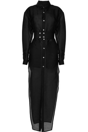 Rick Owens Fitted-waist maxi shirt dress