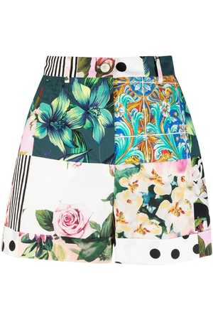 Dolce & Gabbana Women Shorts - Patchwork print high-waisted shorts