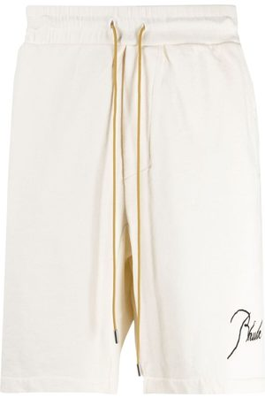 Rhude Embroidered-logo shorts - Neutrals