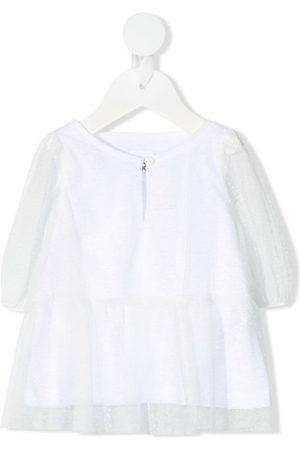 DOUUOD KIDS Sheer layer flared dress