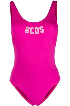 GCDS Logo low-back swimsuit