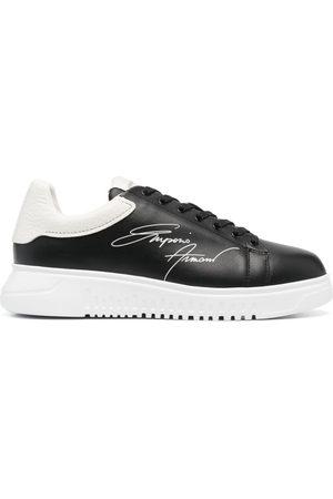 Emporio Armani Signature logo-print leather sneakers
