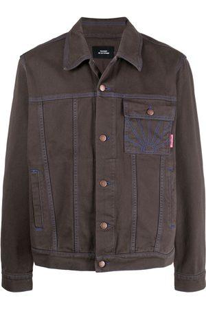 PACCBET Embroidered-logo trucker jacket