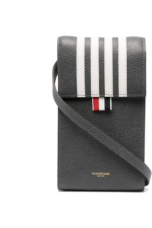Thom Browne Four-bar stripe phone bag - Grey