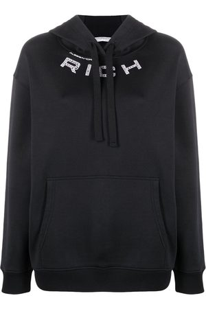 Alessandra Rich Crystal embellished logo hoodie