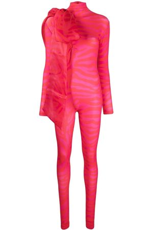 Atu Body Couture Women Jumpsuits - Zebra-print oversized bow jumpsuit
