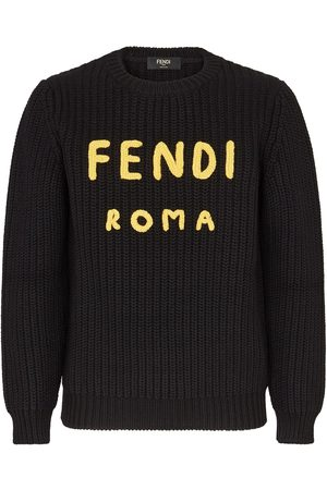 Fendi Men Sweatshirts - Logo-print wool jumper