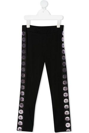 GCDS Logo stripe stretch-cotton leggings