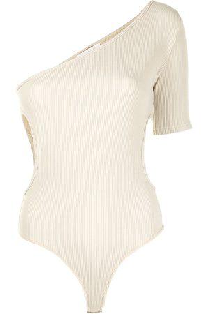 MATÉRIEL by Aleksandre Akhalkatsishvili Asymmetric ribbed knit bodysuit - Neutrals