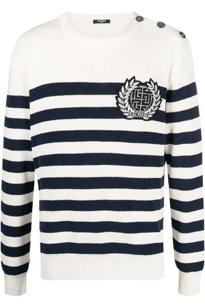 Balmain Laurel-wreath striped jumper - Neutrals