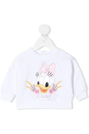 MONNALISA Daisy Duck-embroidered sweatshirt