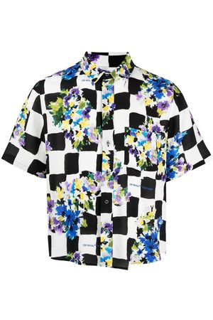 OFF-WHITE Floral-print checked shirt