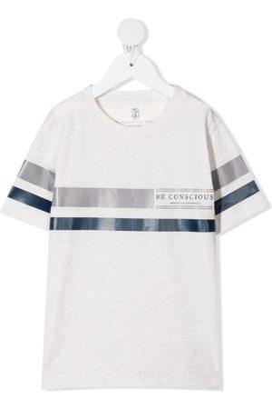 Brunello Cucinelli Logo-print T-shirt - Neutrals