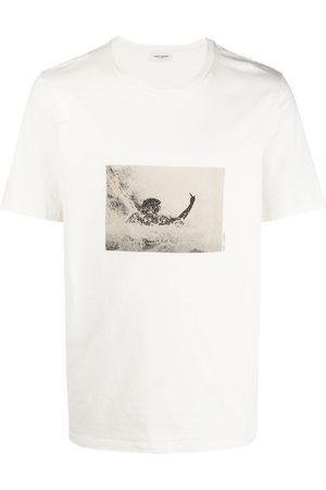 Saint Laurent Men T-shirts - Graphic-print cotton T-shirt - Neutrals