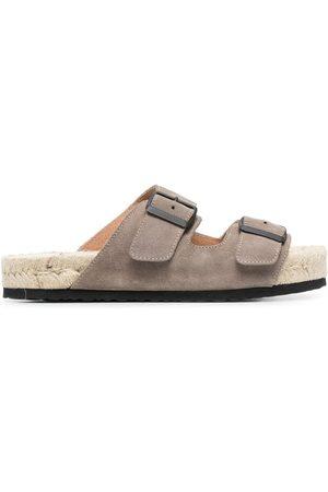 MANEBI Buckled flat sandals - Grey