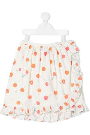 BONPOINT Orange-print ruffle-trim skirt