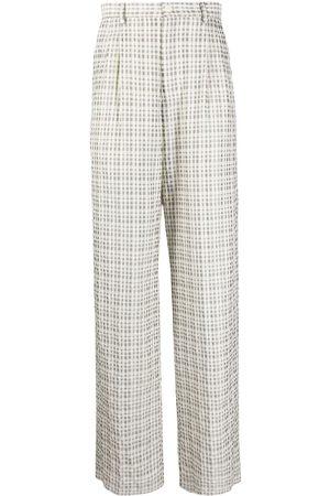 Emporio Armani Men Straight Leg Pants - Straight-leg checked trousers - Neutrals