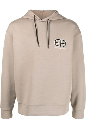 Emporio Armani Logo-embroidered hoodie - Neutrals