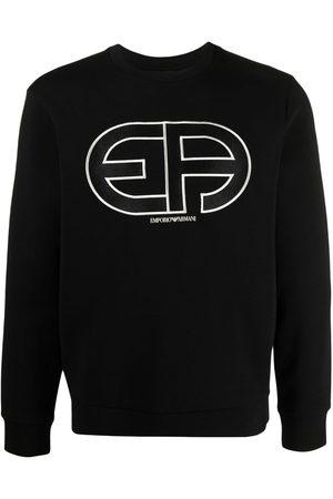 Emporio Armani Embroidered-logo cotton sweatshirt