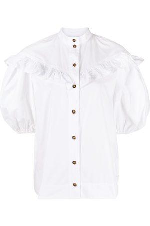Ganni Puff-sleeve ruffled blouse