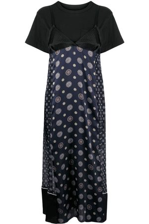 SACAI Patchworkd slip cotton dress