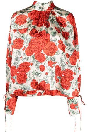 Ganni Floral-print tied-cuffs blouse - Neutrals