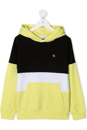 Calvin Klein Logo-print colour-block hoodie