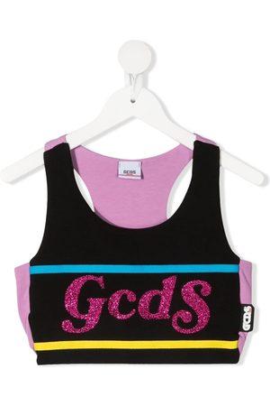 GCDS Glitter-logo crop top