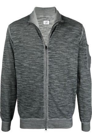 C.P. Company Men Sweatshirts - Embroidered-logo zip-up jumper - Grey