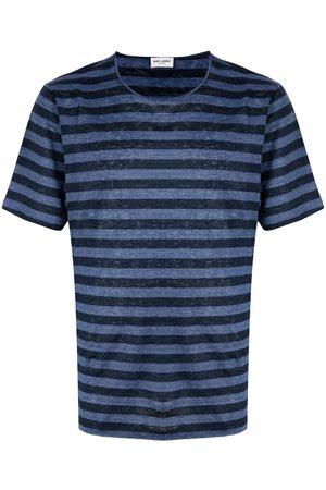Saint Laurent Men T-shirts - Logo-embroidered striped T-shirt