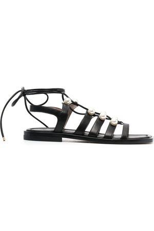 Stuart Weitzman Goldie 15mm pearl-embellished sandals