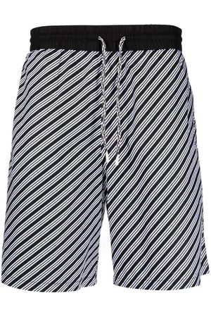 Emporio Armani Men Bermudas - Striped drawstring bermuda shorts