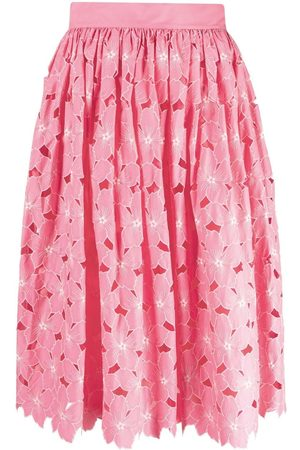 RED Valentino Women Printed Skirts - Floral-print high-waisted skirt