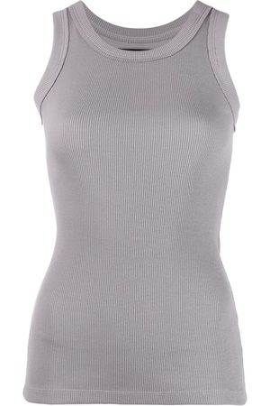 Styland Women Tank Tops - Ribbed-knit cotton vest - Grey