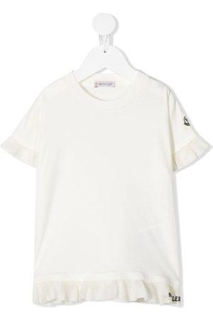 Moncler Ruffle-trim logo-patch T-shirt
