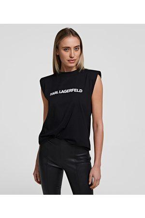 Karl Lagerfeld Women Tank Tops - KARL LOGO PADDED SHOULDER TANK