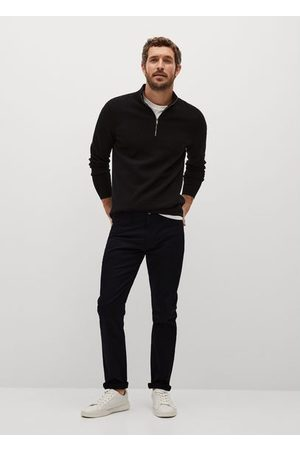 MANGO Slim fit denim-effect serge pants