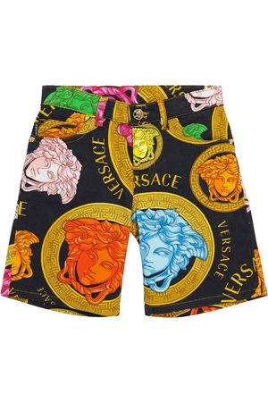 VERSACE Logo stretch-denim shorts
