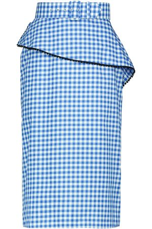 RODARTE Checked cotton-blend poplin midi skirt